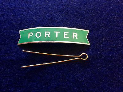 Original Vintage British Railways Green Porter's Fishtail Enamel Cap Badge