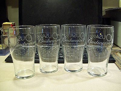 Set of 4 Budweiser Proud Sponsor USA Olympics Etched Glasses Nice!!!!!!!