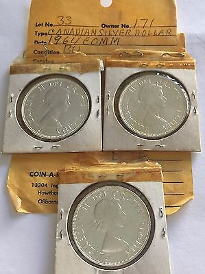 OLD CANADA MS 1964 SILVER DOLLAR COIN BU UNC CANADIAN CENTENNIAL Lot of 3