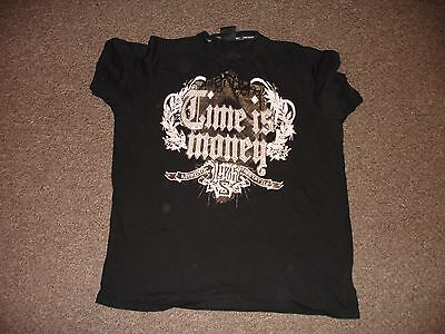 Time Is Money Cotton Bling Trendy Logo Tshirt Top Black Extra Large 2Xl Xxl