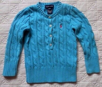 Ralph Lauren Baby Girl  Blue Polo Henley Cable Knit Cotton Sweater Top 3T