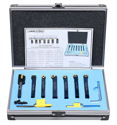 """7 Pieces/Set 1/4"""" Indexable Carbide Turning Tool Set in Fitted Box, #2387-2001"""
