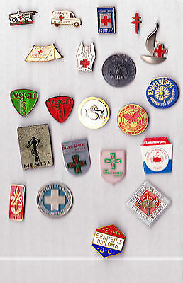 JOB LOT COLLECTION Vintage Medical & Red Cross pin badges 1960s