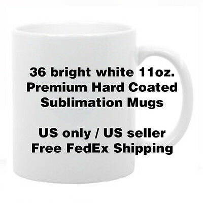 36 Premium Coated Sublimation Mugs Blank Bright White 11oz - FREE SHIPPING