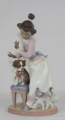 "Lladro ""my Turn"" #6026 Figurine ~ Girl With Dog And Cat ~ Perfect!!! ~"