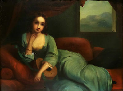 A young lady with mandolin, c. 1800, oil on copper