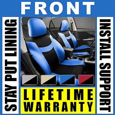 Blue & Black Front Car Seat Covers Set - OEM Bucket 2 Pc Pair Truck SUV G75