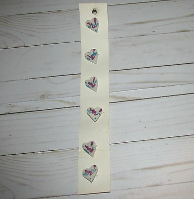 """Vtg 6 pcs Handcrated HEART Valentine Buttons 1"""" H New old Stock The Hands Work"""