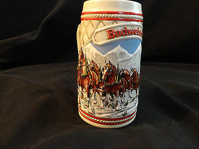 """Budweiser Clydesdales Holiday Limited 1985 Edition """"A"""" Series - Ceramarte Brazil"""