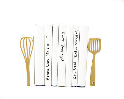 Atelier Article - Gift Steel bookends - Kitchen Beater and spatula (Gold)
