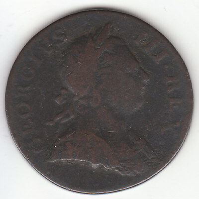 1770 George III British US Colonial Halfpenny Copper Coin