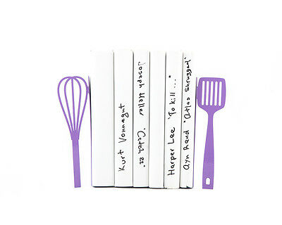 Atelier Article - Gift Steel bookends - Kitchen Beater and spatula (Purple)