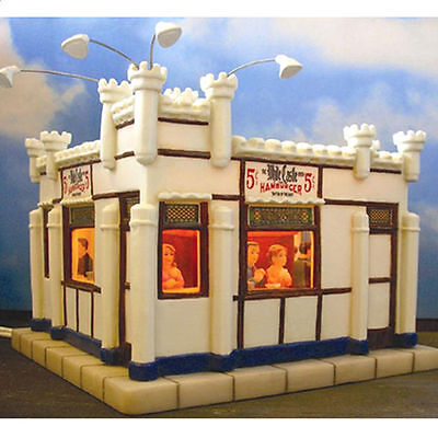 Illuminated Porcelain White Castle Building New in Box Dept. 56 Scale
