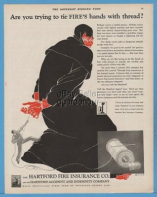 1928 Hartford Fire Insurance Co Demon Art Trying to Fire's hands with thread Ad