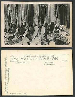 Malay Drying Room Crepe Rubber Women British Empire Exhibition 1924 Old Postcard