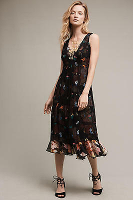 d6fd1f55af2a NEW Anthropologie Embroidered Garden Stroll Midi Dress by Floreat Sz 0, 6P