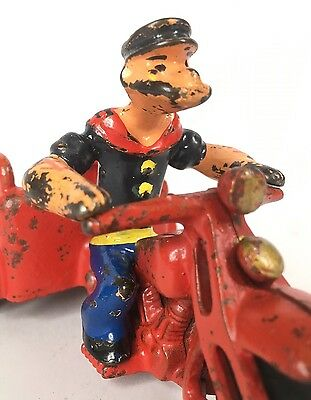 Vintage 1930s Popeye On His Spinach Motorcycle By Hubley Cast Iron Toy