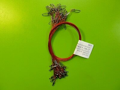 """25 DFS 316 STAINLESS STEEL WIRE TRACE, RED  12"""" 15LB, fishing tackle"""