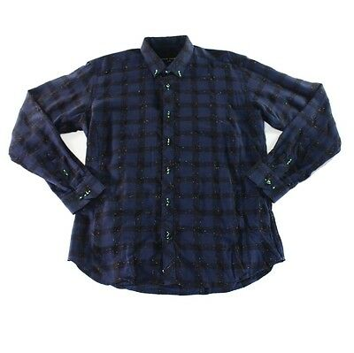 Jared Lang NEW Blue Mens Size Large L Checked Button Down Shirt $100 036 DEAL