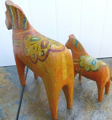 Swedish DALA HORSE - SET OF 2 - VERY OLD - HAND CARVED & PAINTED FOLK ART Sweden