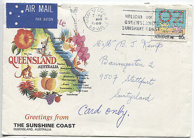AUSTRALIA 1989: colourful cover to Switzerland with 80c Living Together (3044)