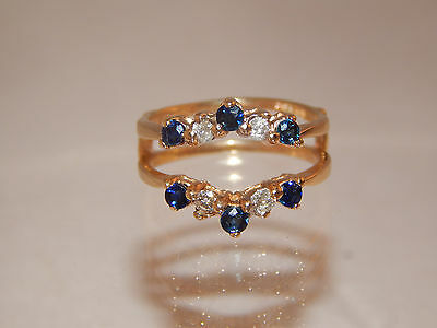 14K YG Blue Sapphire & Diamond Wrap for Round Solitaire .46 tcw H/I1 Ring Guard