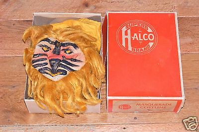 Vintage Halco Superb Lion Halloween/Masquerade Costume Hand Painted Muslin Mask