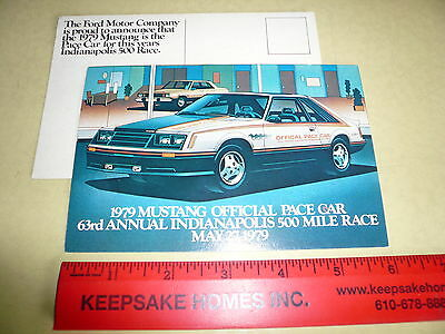 1979 Ford Mustang Offical Pace Car Indianapolis 500 Race Postcard Vintage