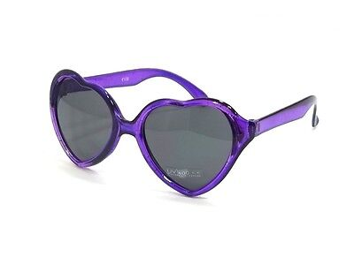 Girls Sweet Pie Sunglasses Kids Age 2-4 Heart Shaped Crystals Purple Frame