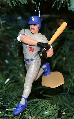 Mike Piazza Los Angeles Dodgers Grey Uniform Power Swing Christmas Tree Ornament