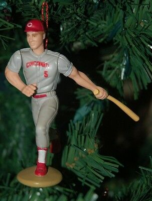 Johnny Bench Cincinnati Reds Grey Uniform Batting Christmas Tree Ornament