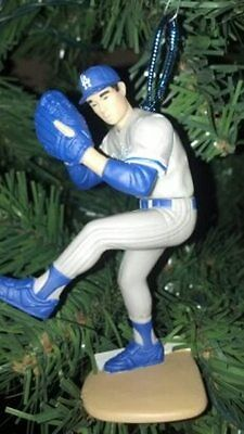 Hideo Nomo Los Angeles Dodgers Grey Jersey Pitching Christmas Tree Ornament