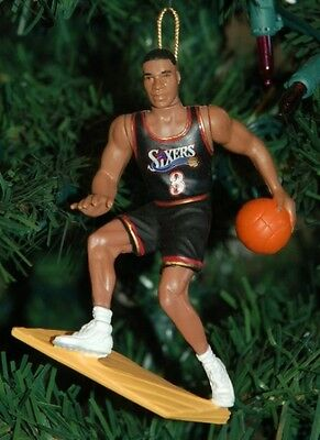 "Allen Iverson Philadelphia 76ers Black Jersey 4"" NBA Christmas Tree Ornament"
