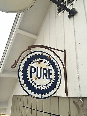 Pure Oil Porcelain Sign And Hanger