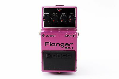 Boss BF-2 Flanger Guitar Effect Pedal Silver Screw Black Label Made in Japan #1