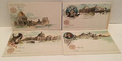 (4) 1893 World's Columbian Exposition Postcard Lot UNUSED Agriculture Fisheries