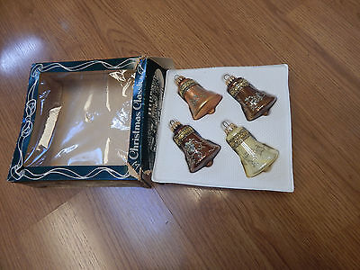krebs vtg Christmas ornaments bells gold bronze copper lace glitter  set 4 box