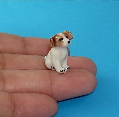 Tiny Jack Russell Puppy Porcelain Miniature Figurine