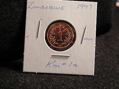 ZIMBABWE:   1997      1  CENT    COIN     (UNC.)    (#184)  KM # 1 a