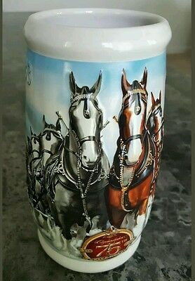 2008 75th Anniversary  Budweiser Clydesdales Collector Holiday Stein NM