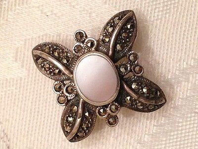 Vintage Sterling Silver Marcasite with Mother of Pearl Pin Brooch Makers Mark