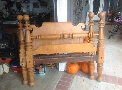 Beautiful Antique 19th Century Maple 4 Poster Rope Bed Full Size