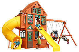 NEW Twin Mountain Lodge Play System Wood Swing Set from Fairdinks