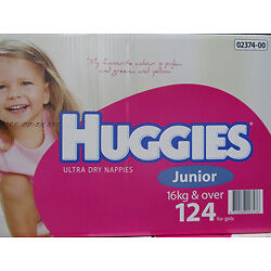 NEW Huggies Nappies Junior Girl 124 Count. 16KG and over from Fairdinks