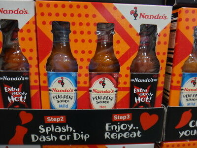 NEW Nandos Peri Peri Sauce Mild, Hot, Extra B/Hot 3PK 3 x 250ML from Fairdinks