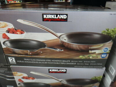 Kirkland Signature SS Non-Stick Skillets Set of 2 21.5CM & 25.4CM