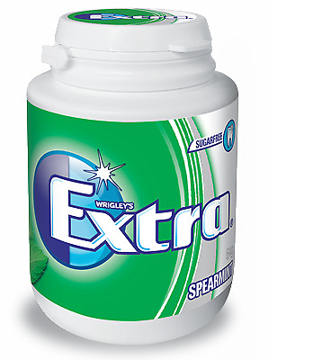 NEW Wrigley's Extra Sugarfree Spearmint Gum 6 x 64G Bottle from Fairdinks