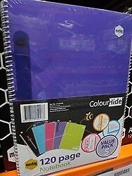 NEW Marbig A4 Colour Hide Notebook 120 Pages (Pack of 5) from Fairdinks