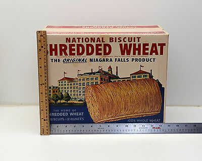Vintage Shredded Wheat National Biscuit Company  Advertising Box LARGE c1940's