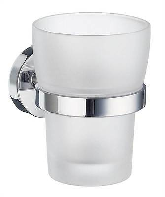 Home Tumbler Holder w Frosted Glass Tumbler in Polished Chrome Finish [ID 88564]